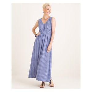 Fresh blue & white print v-neck maxi dress